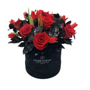 velvet box with fresh flowers
